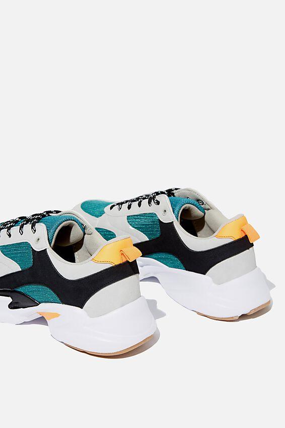 Joel Chunky Sneaker, TEAL/GREY/ORANGE