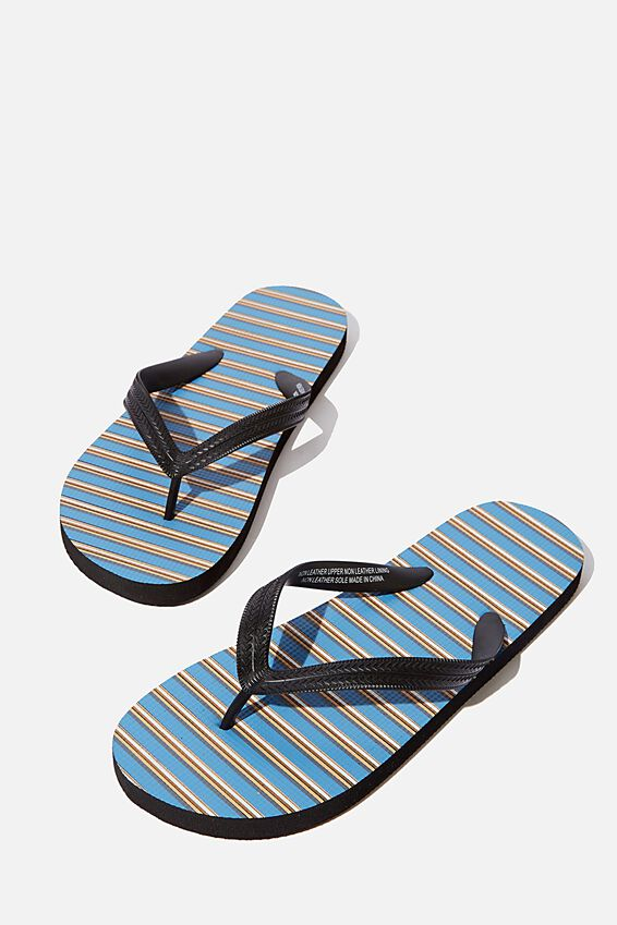 Bondi Flip Flop, STEEL BLUE/BLACK/BROWN STRIPE