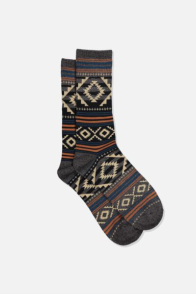 Single Pack Active Socks, BLACK MARLE/COFFEE AZTEC STRIPE
