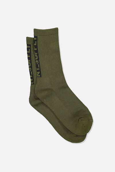 Single Pack Active Socks, KHAKI/BLACK/NY SUPPLY