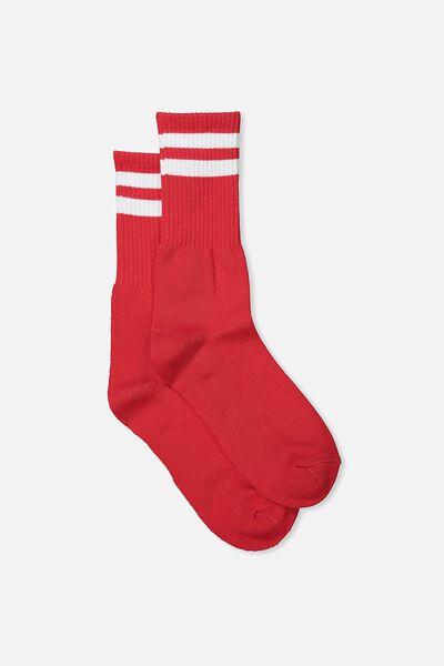 Single Pack Active Socks, RED/WHITE SPORT STRIPE