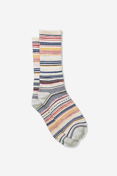 Single Pack Active Socks, SAND MELANGE/MULTI STRIPE