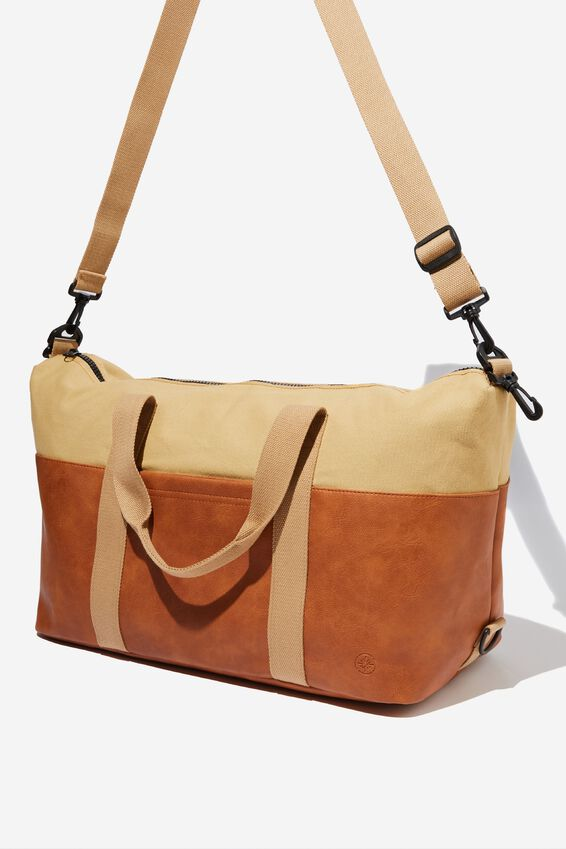 2 Tone Transit Duffle Bag, TAN