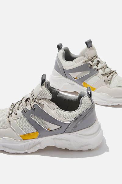 Oskar Chunky Sneaker, WHITE/GREY/YELLOW