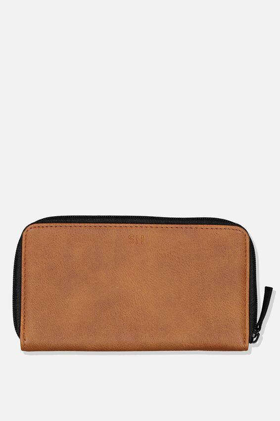 Personalised Premium Large Zip Wallet, TAN PU