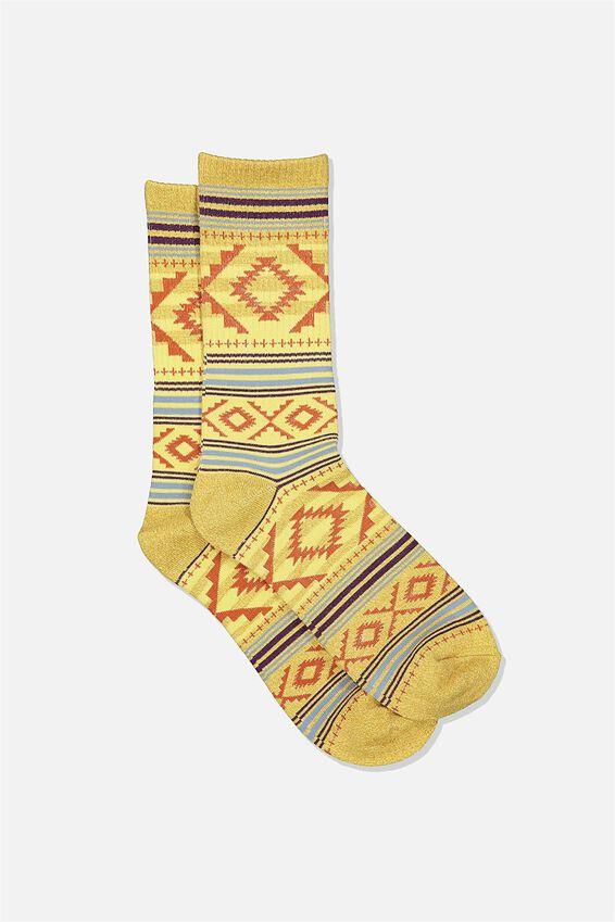 Single Pack Active Socks, MUSTARD MARLE ORANGE AZTEC STRIPE