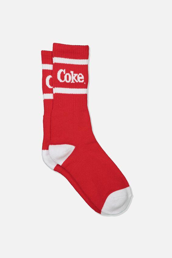 Single Pack Active Socks, LCN COK STRONG RED/COKE SPORT STRIPE