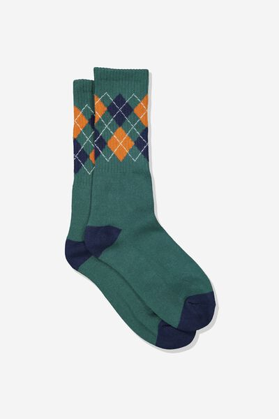 Single Pack Active Socks, FOREST GREEN/PLAID