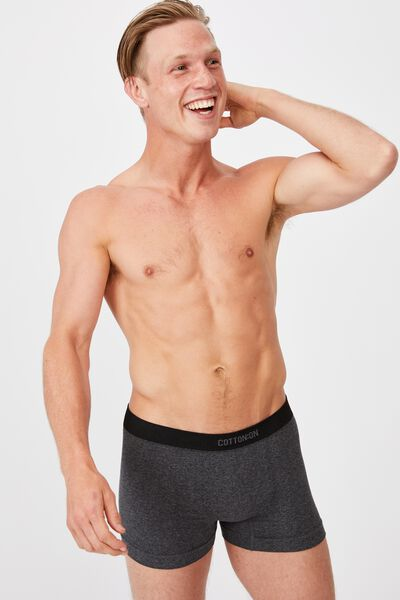 Mens Seamless Trunks, CHARCOAL MARLE/BLACK