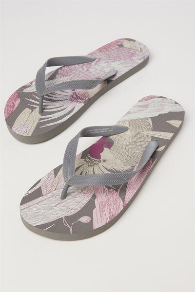 Bondi Flip Flop, CHARCOAL/PALM PARROT
