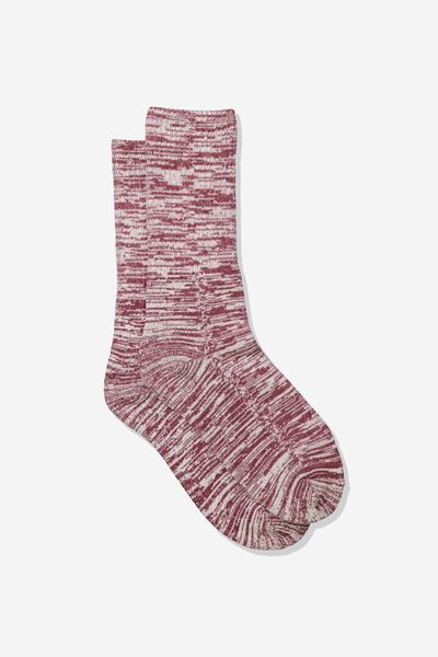 Single Pack Active Socks, BURGUNDY MELANGE
