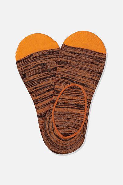 Invisible Socks 2 Pack, ORANGE/BLACK MELANGE