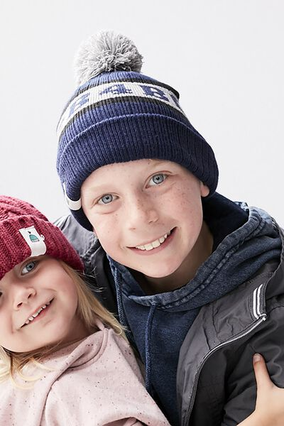 Limited Edition Cb4bc Kids Pom Pom Beanie, NAVY/GREY