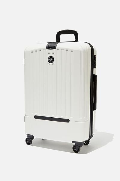 Med 24Inch Hard Suitcase, WHITE/BLACK