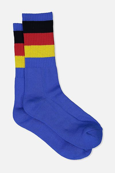 Single Pack Active Socks, ROYAL BLUE/TRACK STAR