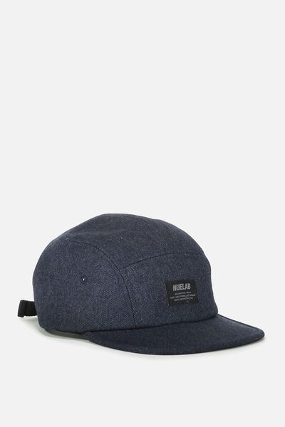 5 Panel Cap, NAVY HERRINGBONE/NUELAB