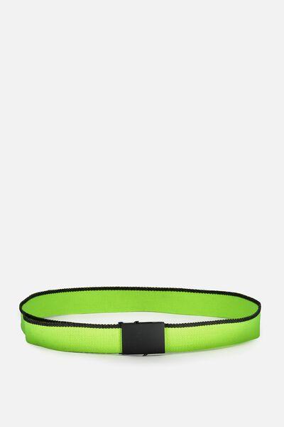 Portland Web Belt, LIME/BLACK
