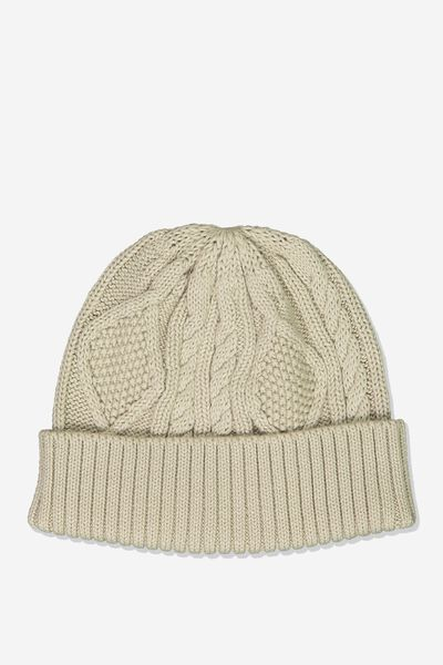 Cable Knit Beanie, SAND