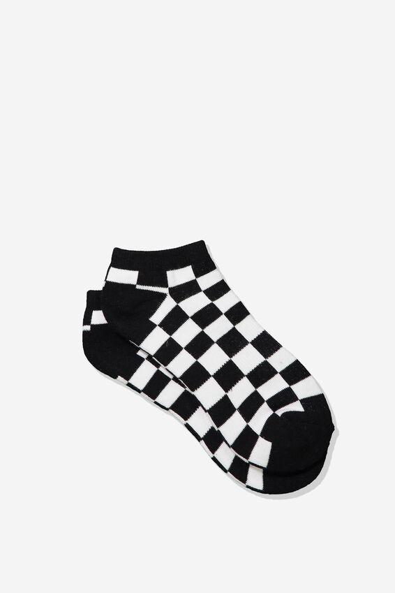 Mens Ankle Sock, BLACK/WHITE CHECK