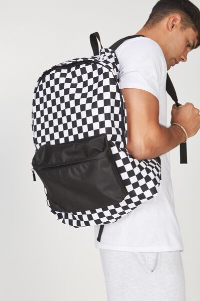 Oversized Backpack, BLACK/WHITE CHECK