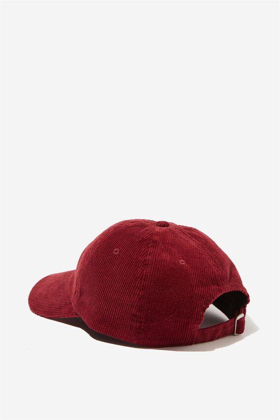 Strap Back Dad Hat, RED WINE CORDUROY