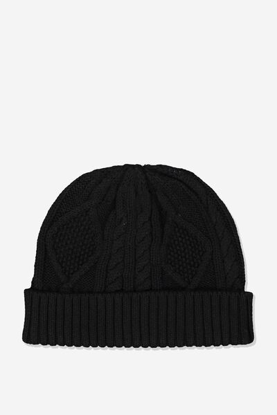 Cable Knit Beanie, BLACK