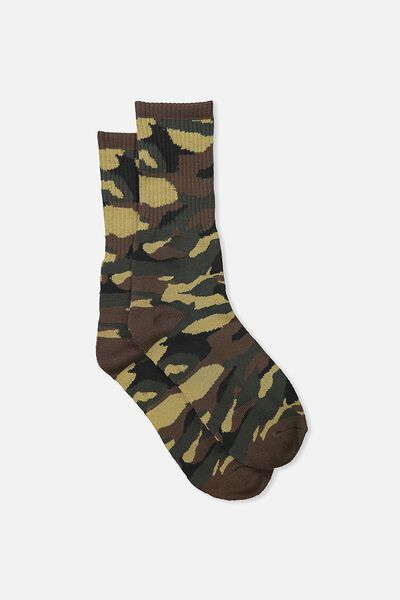 Single Pack Active Socks, ARMY/CAMO