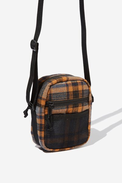 Crossbody Pouch, GREY/NAVY/ORANGE PLAID