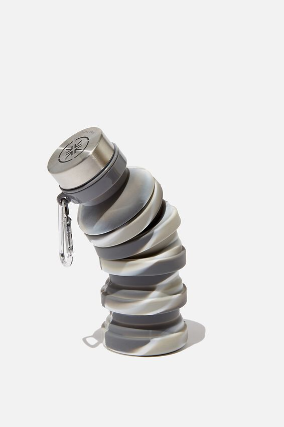 Collapsible Drink Bottle, GREY/WHITE MARBLE