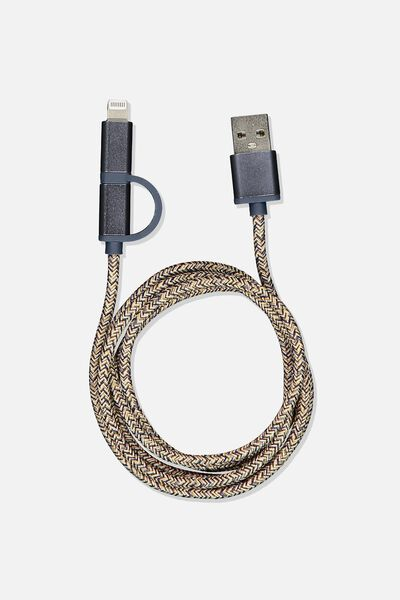 2 In 1 Charge/Sync Cable, NAVY/HOUNDSTOOTH