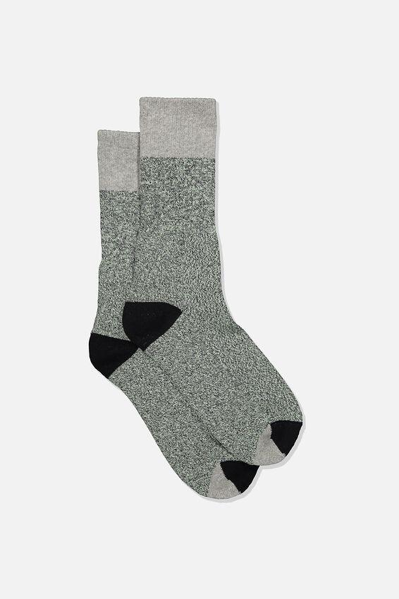 Single Pack Active Socks, GREY/SAGE GREEN BLOCK MELANGE
