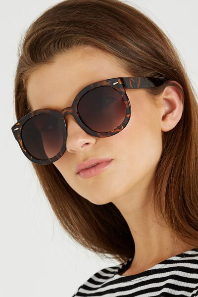 Farrah Round Sunglasses, TORT/BROWN GRAD