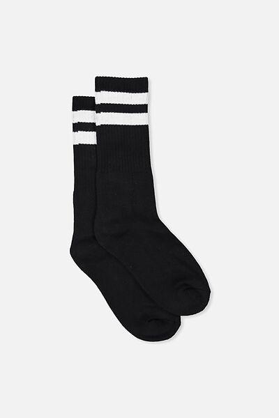 Single Pack Active Socks, BLACK SPORT STRIPE
