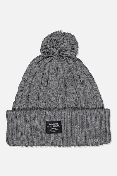 Arctic Beanie, GREY MARLE CABLE/WORLDWIDE SUPPLY