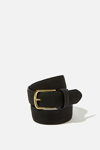 Faux Suede Belt, BLACK/BRUSHED GOLD
