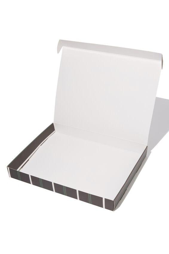 Large Gift Box, BLACK/TEAL/WHITE STRIPE