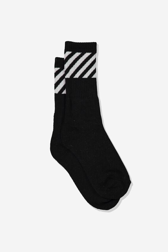 Single Pack Active Socks, BLACK/DIAGONAL STRIPE