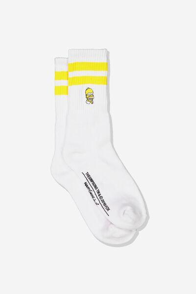 Single Pack Active Socks, LC FOX WHITE/YELLOW SPORT STRIPE/HOMER