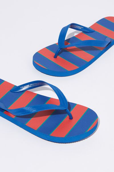 Bondi Flip Flop, STRONG RED/BLUE/DEEP TEAL BLOCK STRIPE