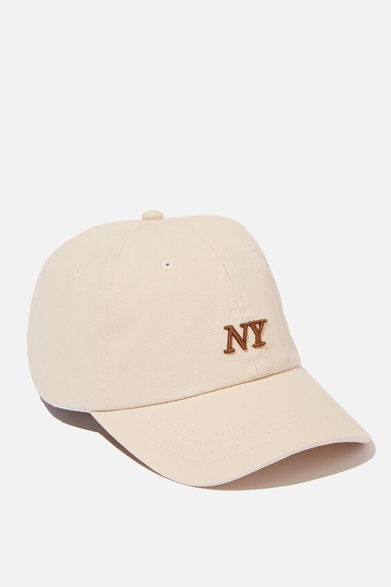 Strap Back Dad Hat, SAND/BROWN/NY