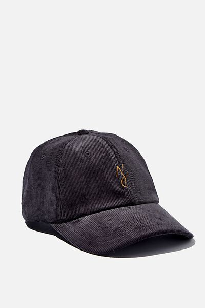 Strap Back Dad Hat, BLACK CORDUROY/GOLD/NYC LINK