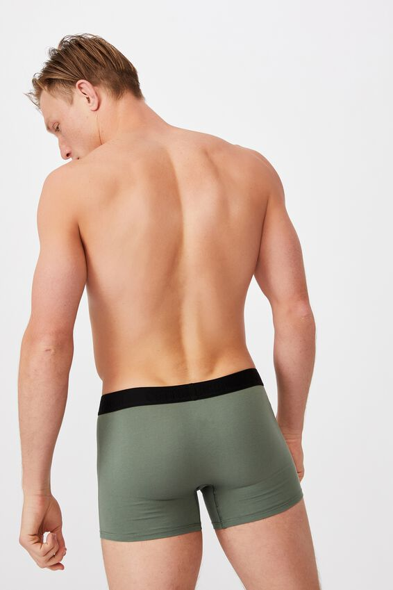 Mens Organic Cotton Trunks, COOL AVOCADO/BLACK