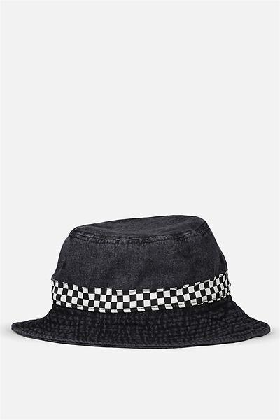 Bucket Hat, WASHED BLACK DENIM/CHECKER