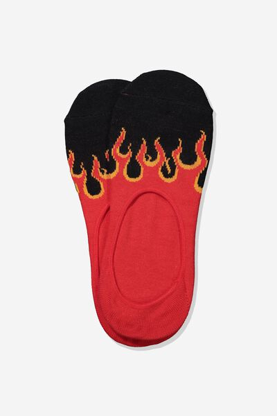 Invisible Socks 2 Pack, RED/BLACK FLAME