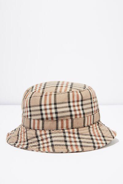 Bucket Hat, SAND/BLACK PLAID