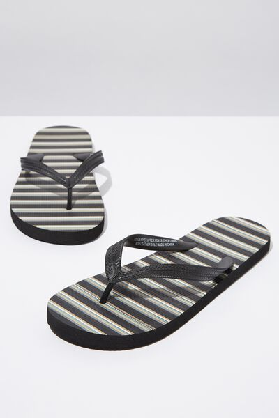 Bondi Flip Flop, BLACK/BROWN/SAGE STRIPE