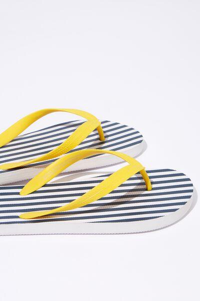 Bondi Flip Flop, NAVY/WHITE STRIPE/YELLOW