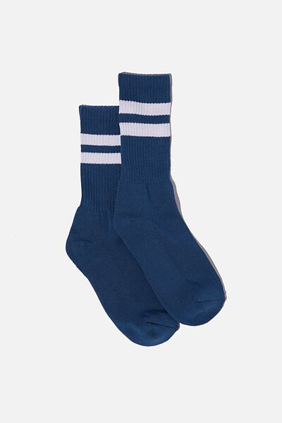 Single Pack Active Socks, DEEP BLUE/WHITE/SPORT STRIPE