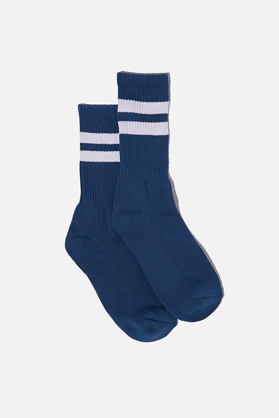 Single Pack Active Socks, DEEP BLUE/WHITE/SPORT STRIPE