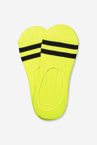 Invisible Socks 2 Pack, NEON LIME SPORT STRIPE